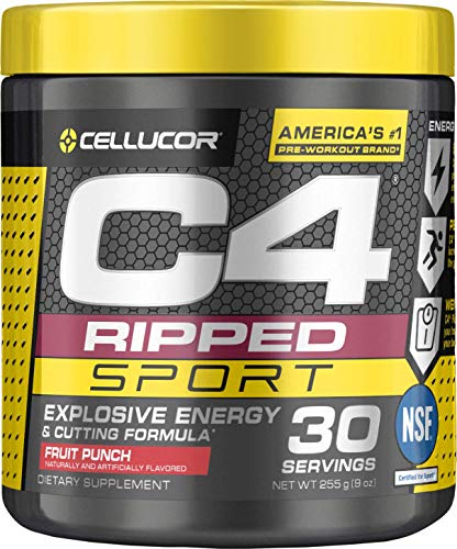 Cellucor C4 Ripped Sport Pre Workout, Fruit Punch, 30 Servings - Weight Loss Preworkout Powder for Men & Women with Green Coffee Bean Extract & L Carnitine