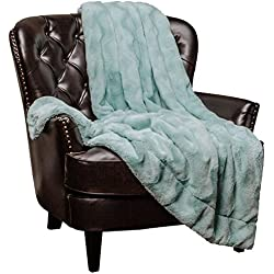 "Chanasya Fur Throw Blanket for Bed Couch Chair Daybed - Soft Wave Embossed Pattern - Warm Elegant Cozy Fuzzy Fluffy Faux Fur Plush Suitable for Fall Winter Summer Spring (50"" x 65"") - Aqua Blanket"