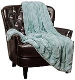 Chanasya Super Soft Warm Elegant Cozy Fuzzy Fur Fluffy Faux Fur with Sherpa Wavey Pattern Plush Aqua Blue Throw Blanket (50