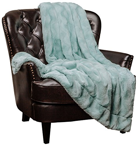 Chanasya Fur Throw Blanket for Bed Couch Chair Daybed - Soft Wave Embossed Pattern - Warm Elegant Cozy Fuzzy Fluffy Faux Fur Plush Suitable for Fall Winter Summer Spring (50' x 65') - Aqua Blanket