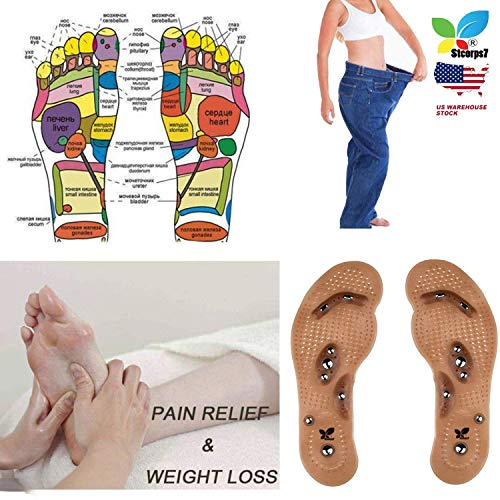 - STCORPS7 Slim Fast Acupressure Slimming Insoles Pad Foot Massager Magnetic Massage Insole Foot Cushion Therapy Weight Loss 24cm (Women)