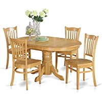 East West Furniture AVGR5-OAK-W 5-Piece Dining Table Set