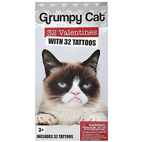 32 Grumpy Cat Valentine Classroom Sharing Cards With 32 Tattoos