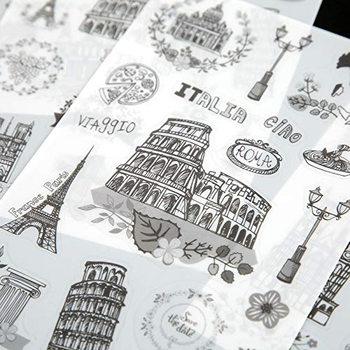 PVC Transparent Stationery Sticker Set (3 Set, 18 Sheets) Vintage Black and White World Famous Building Landmarks Tower Scrapbooking Craft DIY Label School Office Supplies