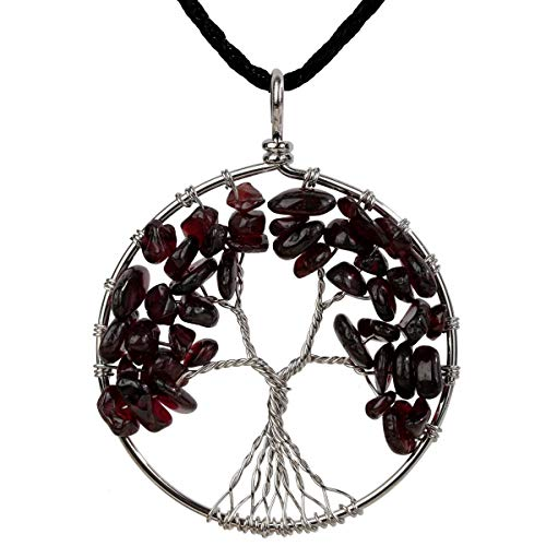 YACQ Garnet Tree of Life Gemstone Pendant Necklace Wire Wrapped Filigree Natural Stone January Birthstone Healing Indian Chakra Spiritual Raw Stone Handcrafted Jewelry for Women 18
