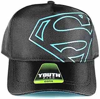 6f65c001dd814 Superman DC Comics Off-Center Black Logo Youth Snapback Baseball Cap Hat