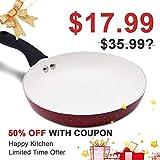KI 11inch Nonstick Frying Pan, Skillet, Saute Pan; Dishwasher Safe Aluminum Cookware Durable Cooking Pan, 1 Year Warranty