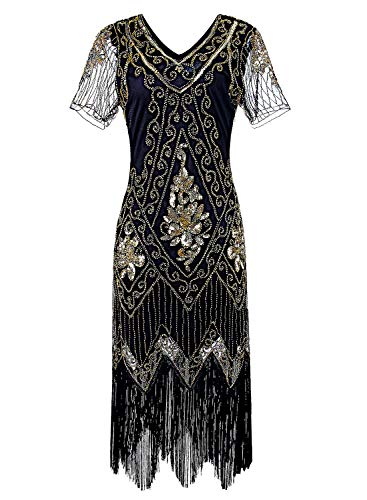 Women 1920s Flapper Dress Vintage - Sequin Fringed Gatsby Dresses Art Decor with Sleeves for Roaring 20s Party Black ()