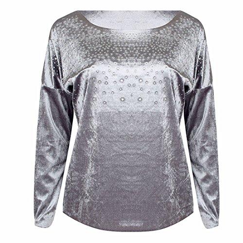 New Haut Longues Blouse Couleur Unie Shirt Manches Gris Shirts Col T Rond Casual Chaud Chemisiers Forage Tops Femme qqBrC5wg