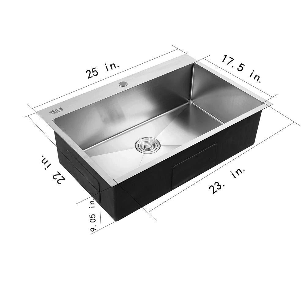 Tuffiom 25-inch 16 Gauge Topmount Stainless Steel Kitchen Sink Single Bowl w/Strainer, Scratch Protector Grid & Adjustable Dish Tray
