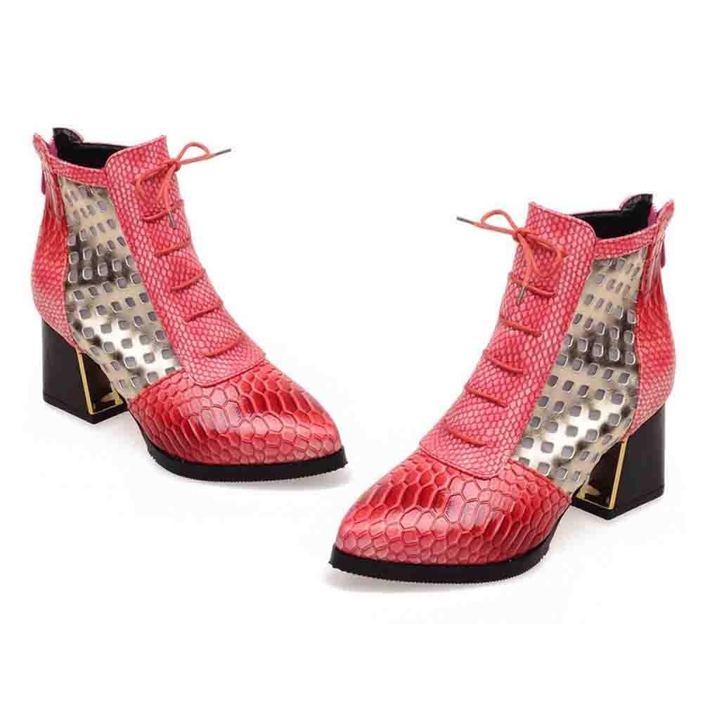 LILICAT❋ Liquidación Moda Piel de Serpiente Botas de tacón Alto Zapatos de Mujer Botines de Serpiente Tacones Altos Botas Cortas Punta Estrecha Zapatos de ...