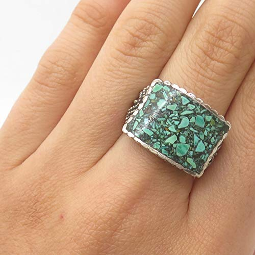 925 Sterling Silver Real Malachite Inlay Gemstone Ring Size 6 1/4 Jewelry by Wholesale Charms