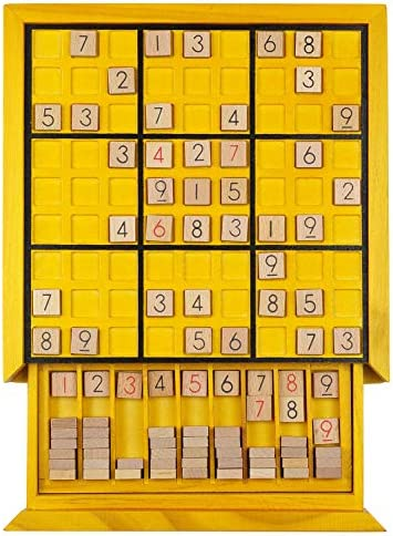 KAILIMENG Wooden Sudoku Board GameDrawer - 81 Grids Number Place Wood Puzzle for Kids and Adults