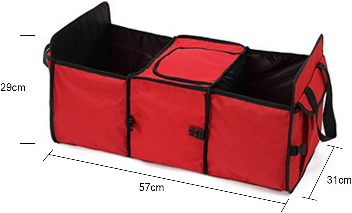 ZONSUSE Car Boot Organiser Car Trunk Organizer collapsible portable cargo storage tool holder 3 large compartments and upgrade handle trunk storage machine compatible with SUV car red