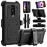 LG Stylo 4 Case, LG Stylus 4 Case, Elegant Choise Hybrid Heavy Duty Holster Shockproof Defender Protective Case Cover with Belt Swivel Clip and Kickstand for LG Stylo 4 Plus 2018 (Black)