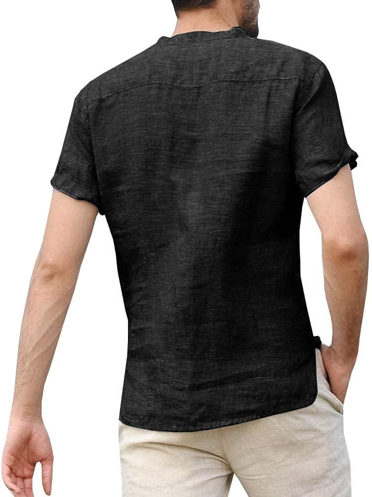 Gtealife Mens Linen Cotton Henley Striped Shirts Short Sleeve Curved Hem Tee Lightweight Casual T Shirt