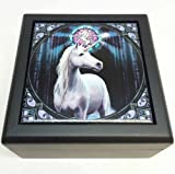 ANNE STOKES ENLIGHTENMENT UNICORN TILE JEWELRY WOODEN BOX KEEPSAKE by ATL