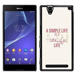 LECELL--Funda protectora / Cubierta / Piel For Sony Xperia T2 Ultra -- amor caramelo rosa púrpura rojo amarillo --