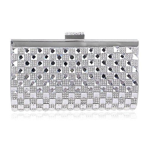 Clutch Bag Women's Handbag Purse Crossbody KERVINFENDRIYUN Silver Color Evening Diamond Silver Yqpn7