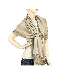 "Falari Women's Solid Color Pashmina Shawl Wrap Scarf 80"" X 27"" (Beige)"