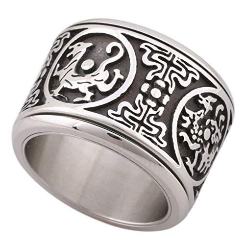 Zovivi Mens Can Spin Stainless Steel Dragon, White Tiger, Suzaku, Basalt Ring