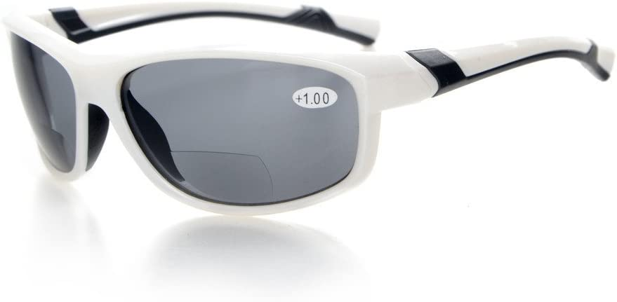 TALLA +3.50. Eyekepper Moda Deportes Bifocal Gafas de sol TR90 Irrompible Lectores al aire libre Béisbol Running Pesca Conducción Golf Softball Senderismo Blanco Marco Gris Lente +3.5