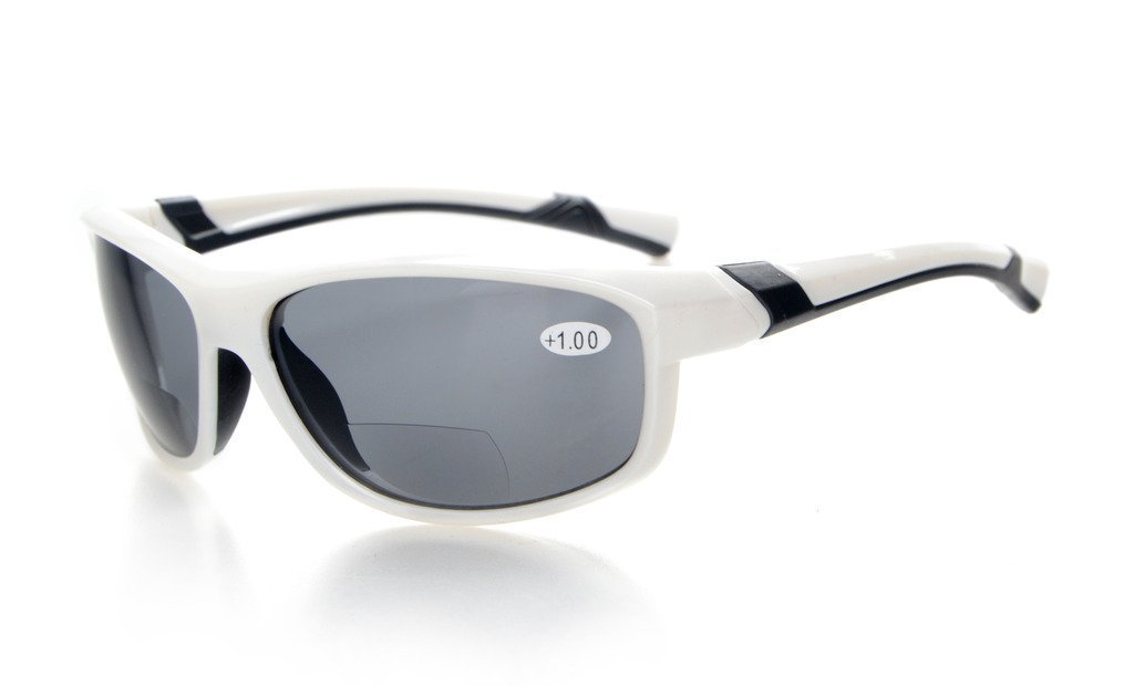 Eyekepper Moda Deportes Bifocal Gafas de sol TR90 Irrompible Lectores al aire libre Béisbol Running Pesca Conducción Golf Softball Senderismo Blanco Marco Gris Lente +3.5