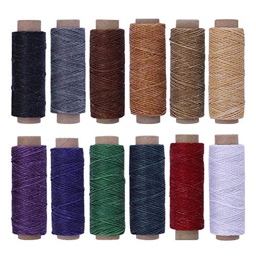 BUTUZE 660Yards Leather Sewing Waxed Thread - 150D 55Yards Per Spool Stitching Thread for Leather Craft DIY/Bookbinding/Shoe Repairing/Leather Projects