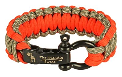 """The Friendly Swede Premium Paracord Survival Bracelet with Stainless Steel Bow Shackle, Adjustable Size Fits 6""""- 7"""" (15-18 cm) Wrists"""