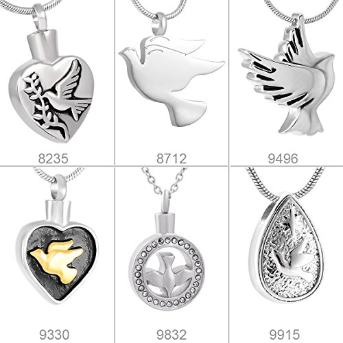 Memorial Jewelry Peace Dove Heart Urn Cremation Jewelry Necklace & Pendant Filler (Dove Urn)