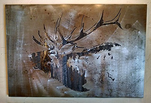 Bugling Elk Metal Art - Rocky Mountain Elk - Reclaimed Wood and Aged Steel - 29x45 - by Legendary Fine Art