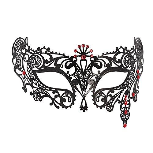 [WINK KANGAROO Women's Laser Cut Metal Venetian Pretty Masquerade Masks (Seven Diamond Style,] (Red Masquerade Mask)