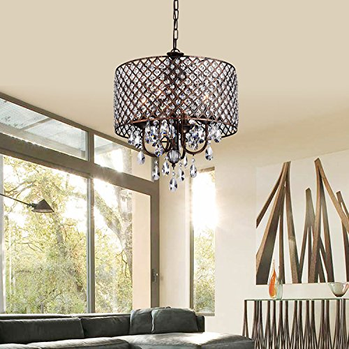 Shade Chandeliers Drum (Mariella Antique Copper Round Drum Shade 4-light Crystal Chandelier Ceiling Fixture)