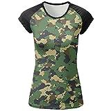 ventile shirt - Womens Green Camouflage Sports Raglan Short Sleeve T-Shirt Baseball Tee