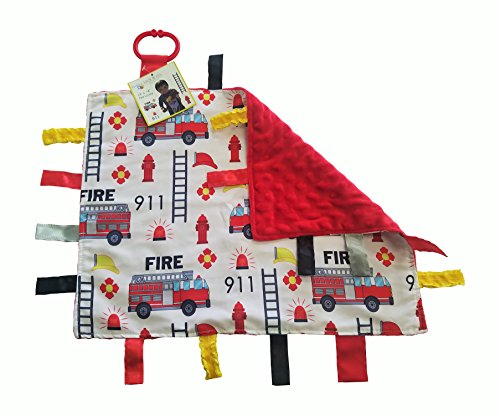 Sensory Baby Tag Blanket, Fire Fighter, Fire Rescue Squad Blanket 14x18 Lovey …