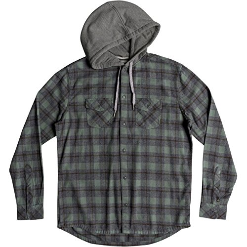 Quiksilver Men's Snap up Hooded Button Down Flannel Shirt, Dark Forest Snap up, XXL by Quiksilver