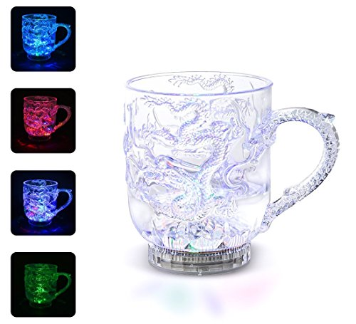 SPIE Water Liquid Activated Light Cup Dragon Painted Plastic Cups Mug Color Change Flash Blinking LED Beer Whisky Shot Glass Cup for Bar Club Night Party Halloween Christmas, -
