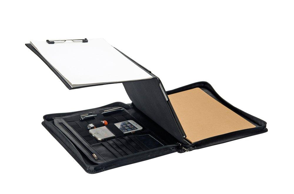 Premium Leather Organizer Padfolio with Folding Center Panel, for 12.9 inch ipad pro,Black