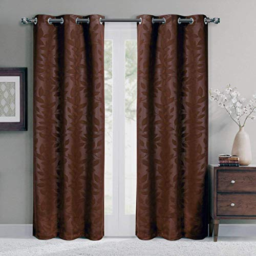 Virginia Chocolate Grommet Blackout Weave Embossed Window Curtain Panels, Pair / Set of 2 Panels, 37x63 inches Each, by Royal Hotel