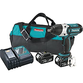 Makita XWT04M 18V LXT Lithium-Ion Cordless High Torque Impact Wrench Kit, 1/2-Inch