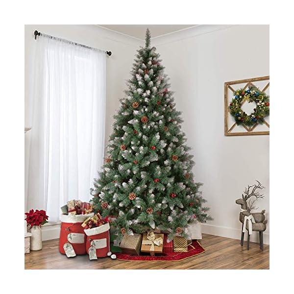 YOUKE Albero di Natale Artificiale di Pino Dolce Glassato Decorato con Pigne e Bacche Rosse,Facile da Installare, Materiale in PVC (1400Tips, 2.25M) 5 spesavip