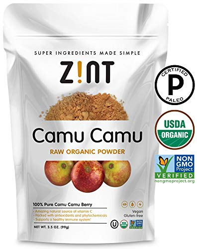 Camu Camu Powder, Natural Vitamin C by Zint: Raw Organic Antioxidant Superfood - Immune Support Booster & Anti Aging - Non GMO, Super Vitamin C Berry (3.5 oz) ()