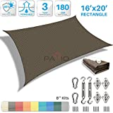 Patio Paradise 16' x 20' Sun Shade Sail with 8 inch Hardware Kit, Brown Rectangle Canopy Durable Shade Fabric Outdoor UV Shelter Cover - 3 Year Warranty - Custom