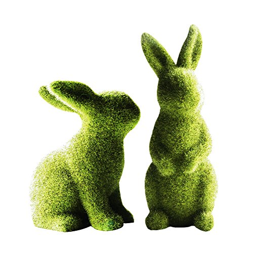 Flocked Bunny Resin Kneeling Rabbit Easter Ornaments Rabbit Decoration for Easter Celebration Birthday Party Celebrations (001-1005519S7)