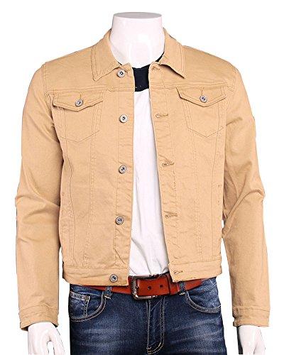 Plaid&Plain Men's Cropped Classic Denim Trucker Jacket Casual Jean Jackets Khaki ()