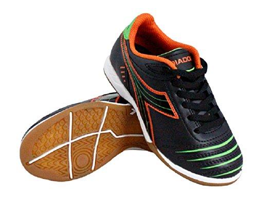 Diadora Kids' Cattura ID Jr Indoor Soccer Shoes (1 Little Kid M, Black/Orange/Lime) Black Indoor Soccer Shoes