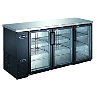 UBB-24-72G 72 Narrow Glass Door Back Bar Cooler Stainless Steel Top and LED Lighting