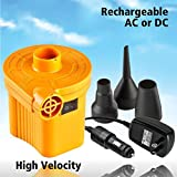 Powerful Inflator Pump Works As Raft Pump, Air Mattress Pump, Inflatable Boat Pump or For Your Inflatable Kiddie Pool. Recharges off 12 Volt DC or 120 Volt Household Power Supply.