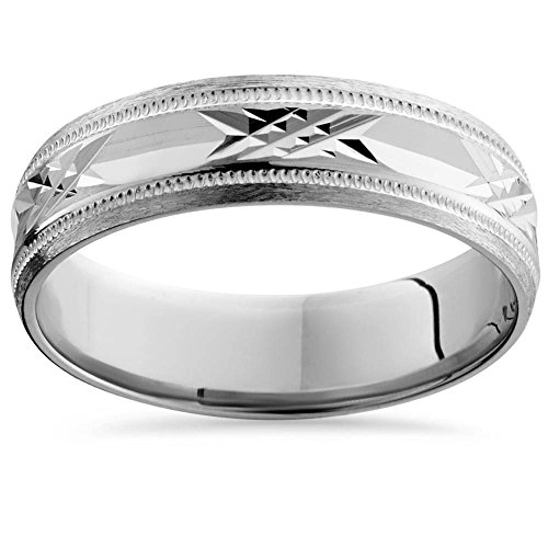 Gold Swiss Cut Ring - 10K White Gold Swiss Cut Mens 6MM Wedding Band