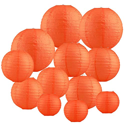 (Renohef Orange Round Paper Lanterns,Metal Framed Hanging Lanterns 12pcs,6inch,8inch,10inch,12inch 4 Sizes,Birthday Wedding Party Supplies Favors Hanging)